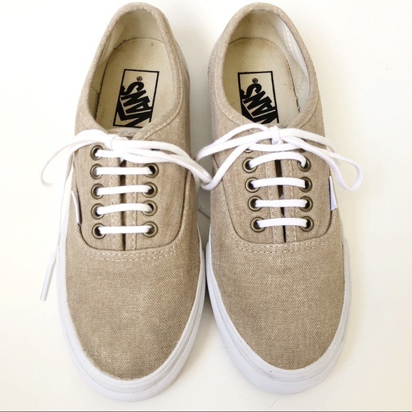 24592badd3f829 Vans slim washed canvas golden tan laced sneakers.  M 5b907cfddcfb5ad01280eb1a